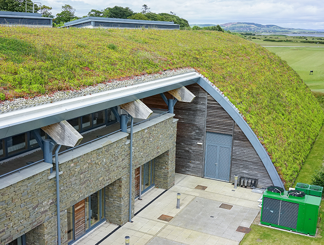Sided view of the green roof at St Andrews Links